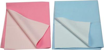 Eazidry Cotton Medium Sleeping Mat Combo of Eazidry Plain waterproof Pink Small + Blue Medium dry sheets