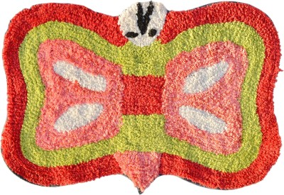Younique Cotton Medium Floor Mat Elegant Butterly Mat - Red & Pink