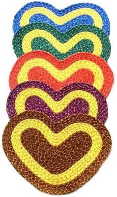 Chaitnya Handloom Cotton Medium Floor Mat Heart shaped floor mat