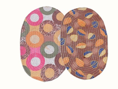Home Fashion Cotton Medium Door Mat Multicolor Oval Cotton Door Mat - Set of 2