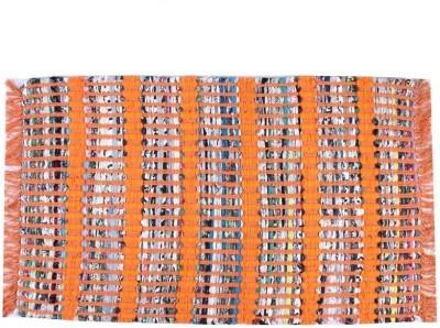 Homenblingss Cotton Small Door Mat Strip Orange Rug