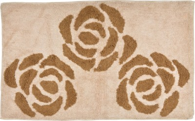 Brabuon Cotton Medium Floor Mat Beige Cotton Bath (length 90 cm and width 50 cm)