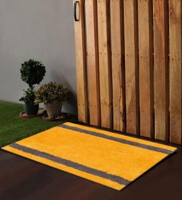 POBO Cotton Medium Door Mat Po Box Horizontal Stripes Olive & Ochre 1 Bath Rug 24