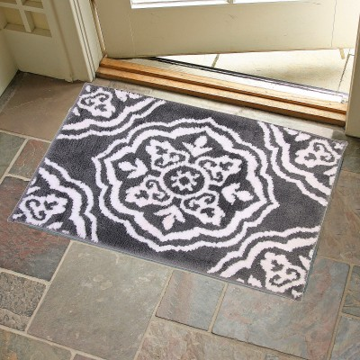 KunalHomeConcept Latex Rubber Small Bath Mat Gray Medallion Bathmat