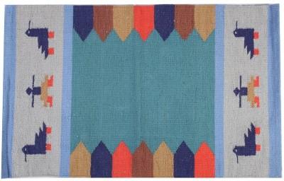 Homenblingss Cotton Small Door Mat Gabbeh Blue Rug