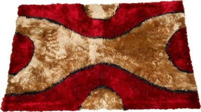 Sudesh Handloom Non-woven Medium Floor Mat Sudesh Handloom Mehroon Golden X Design Rug 3D