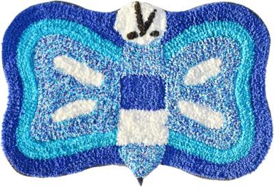Younique Cotton Medium Floor Mat Elegant Butterly Mat - Blue