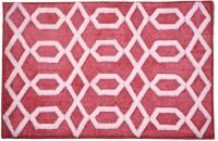 Riva Carpets Polyester Bath Mat Self Design(Red, Medium)