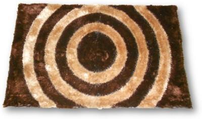 Sudesh Handloom Non-woven Medium Floor Mat Sudesh Handloom Brown Golden Circle Design Rug 3D