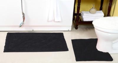 ACASA Cotton Bath Mat SHIVA 14184 MAT BLACK(Black, Large)