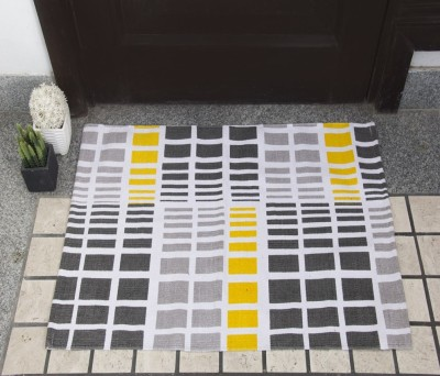 House This Cotton Free Floor Mat Floor Rug(Yellow, 1 Floor Mat)