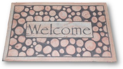 Shudesh Handloom Rubber Medium Door Mat Wooden Design Welcome Door Mat
