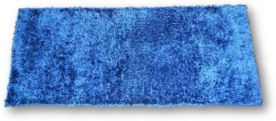 Sudesh Handloom Velvet, Polyester Medium Floor Mat Sudesh Handloom Imported Stuff Plain Royal Blue Rug