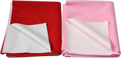 Eazidry Cotton Large Sleeping Mat Combo of Eazidry Plain waterproof Pink Small + Red Large dry sheets