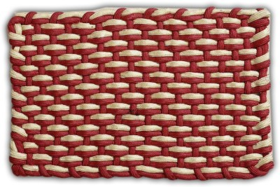 FabLooms Polyester Small Floor Mat FL-Adda-Red