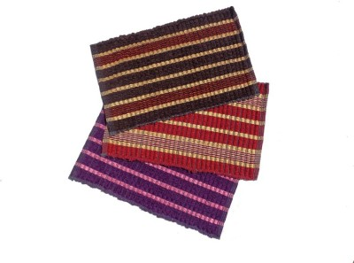 Home Fashion Velvet Medium Door Mat Multicolor Velvet Door Mat - Pack of 3