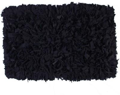 Homenblingss Cotton Small Door Mat Shaggy Black rug