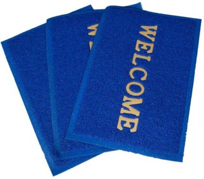 Kuber Industries Rubber Medium Door Mat Door Mat PVC Set of 3 Pcs