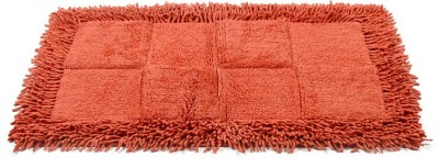 Homefurry Reddish Orange Checkster Cotton Large Bath Mat Bath Mat, Bath Rugs