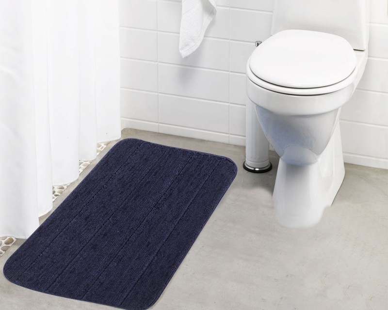 Lushomes Microfiber Bath Mat Anti Rubber Coated(Blue, Medium)