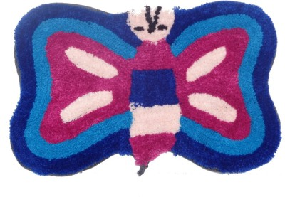 Home Fashion Microfiber Medium Bath Mat Butterfly Red