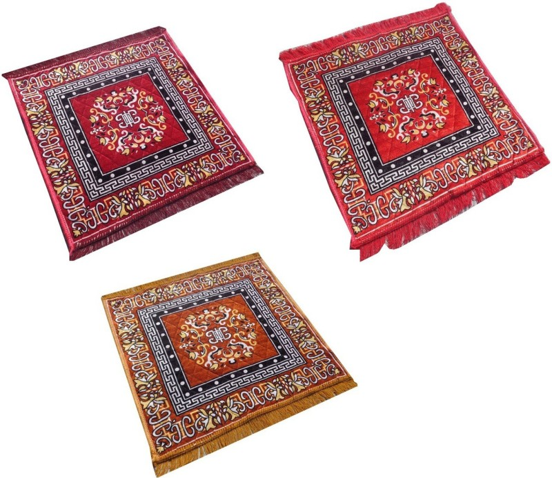 Yellow Weaves Polyester Prayer Mat Ethnic Design Set of 3 Aasan(Multicolor, Medium)