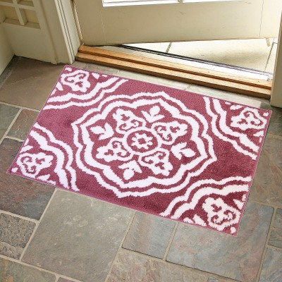 KunalHomeConcept Latex Rubber Small Bath Mat Maroon Medallion Bathmat