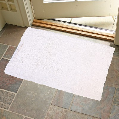 KunalHomeConcept Cotton Small Bath Mat White Loop Shag Bathmat