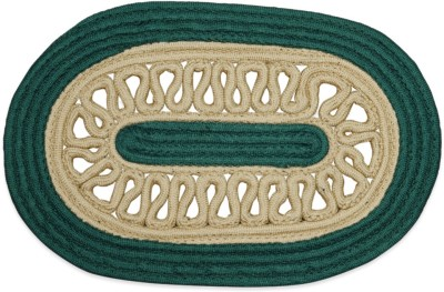 Firangi Polyester Free Door Mat Firangi Stylish Oval Hol Green Door Mat