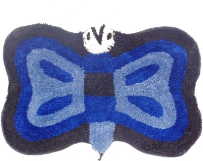 Home Fashion Microfiber Medium Bath Mat Butterfly Blue