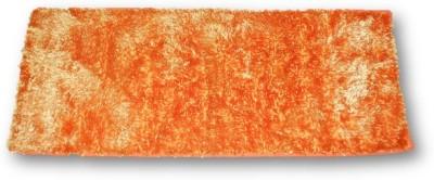 Sudesh Handloom Velvet, Polyester Medium Floor Mat Sudesh Handloom Imported Stuff Plain Orange Rug
