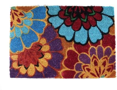 TEZERAC Coir Medium Door Mat WIND MULTI FLOWER PRINT