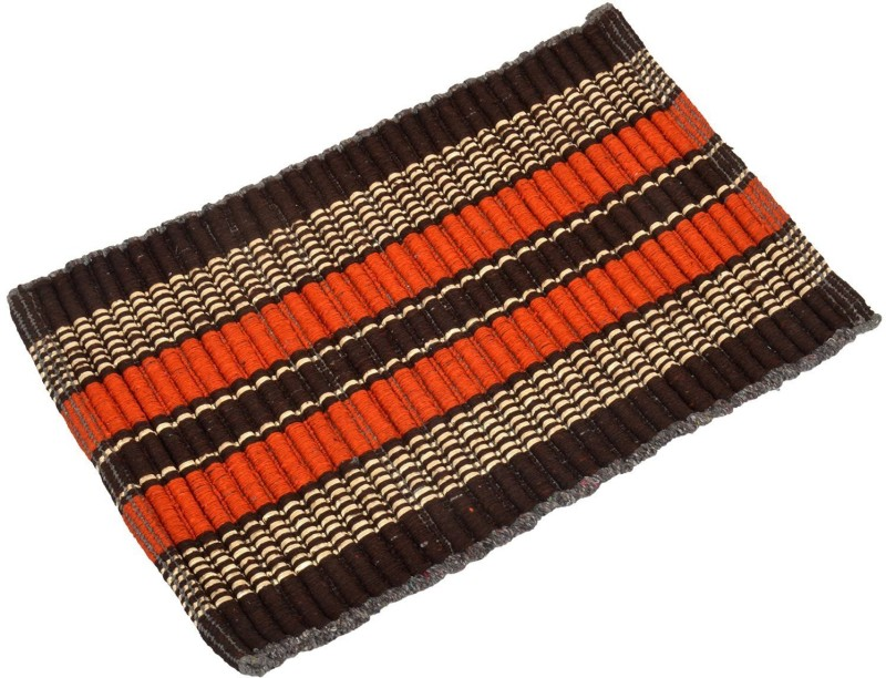 Nirmal Polyester Pongee Door Mat Lawerence(Brown, Orange, Beige, Large)