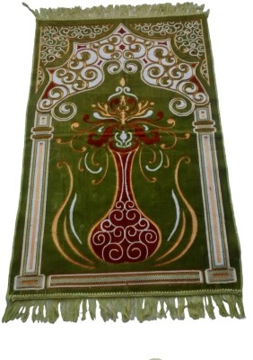 Fiable Polyester Large Prayer Mat Floral Velvet Janemaz - (Green)(Green, 1 Janemaz)