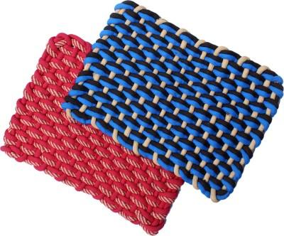 Madras Cotton Cotton Medium Floor Mat Rope Knotted