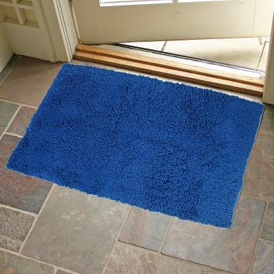 KunalHomeConcept Cotton Small Bath Mat Navy Blue Loop Shag Bathmat