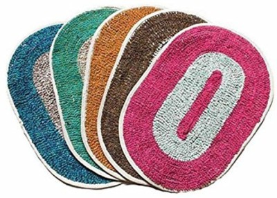 Home Fashion Cotton Medium Door Mat Home Fashion Multicolor Cotton Medium Door Mat - Set of 5