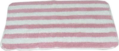 ACASA Cotton Bath Mat PINK/WHITE BATH MAT(Pink, White, Free)