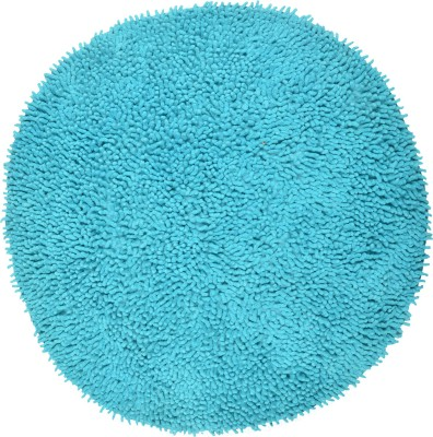 Brabuon Cotton Medium Floor Mat Blue Round Cotton Bath (length 70 cm and width 70 cm)