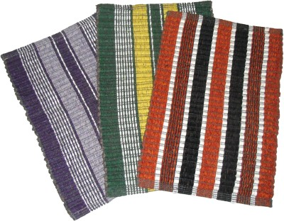 Ritika Carpets Cotton Medium Door Mat Strip Door Mat Set Of 3