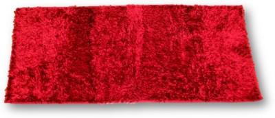 Sudesh Handloom Velvet, Polyester Medium Floor Mat Sudesh Handloom Imported Stuff Plain Bright Red Rug