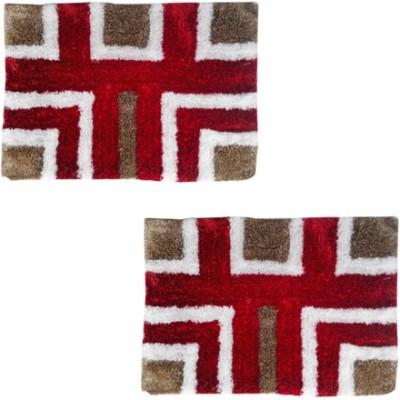Firangi Cotton, Polyester Free Floor Mat Firangi Set of 2 Decorative Premium Carpet