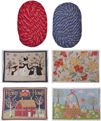 Jars Collections Cotton Medium Door Mat Set of 6 Assorted Mats