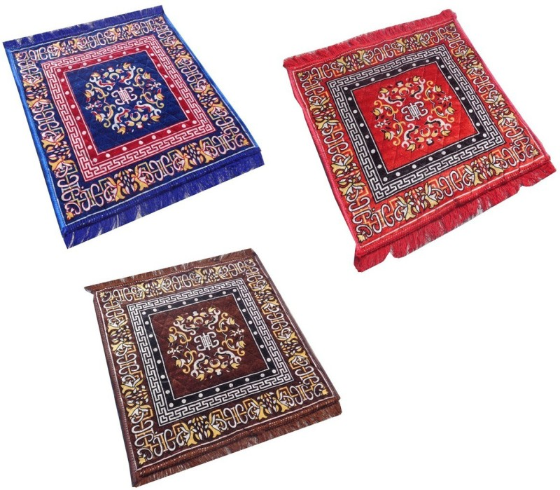Yellow Weaves Polyester Prayer Mat Ethnic Design Set of 3 Pooja Aasan - 2 Ft X 2 Ft(Multicolor, Large)