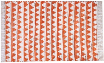 Homenblingss Cotton Small Door Mat Triangles Orange Rug
