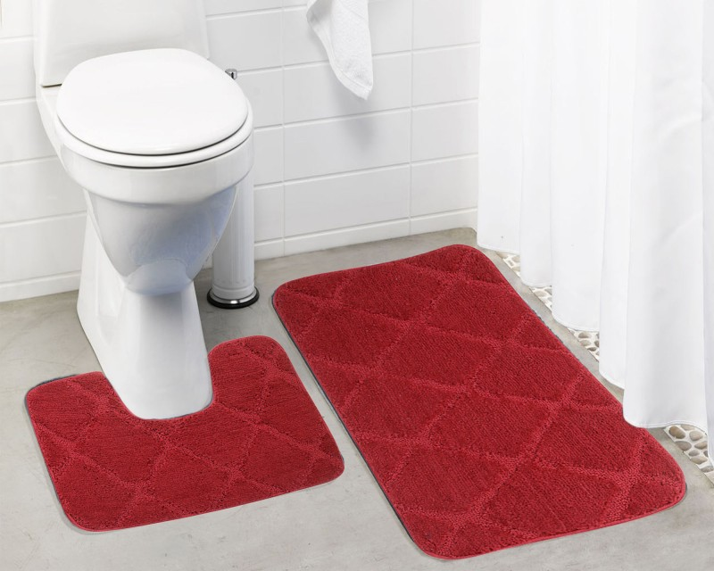 Lushomes Microfiber Bath Mat Anti Rubber Coated(Red, Medium)