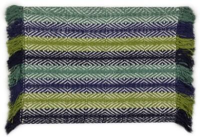 Po Box Cotton Free Floor Mat Floor Rug(Blue, 1 Floor Mat)