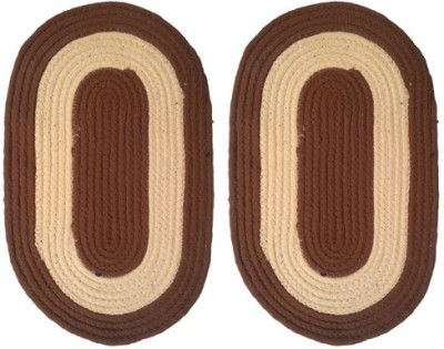 Firangi Cotton, Polyester Free Floor Mat Set of 2 Designer Oval Door Mat
