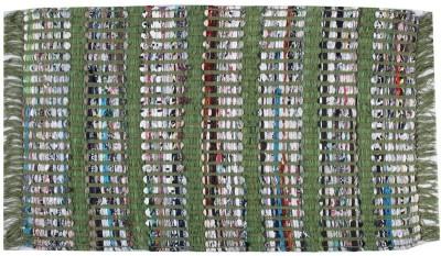 Homenblingss Cotton Small Door Mat Strip Green Rug
