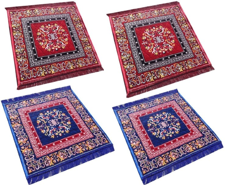 ANURAG TRADERS Polyester Prayer Mat Pooja Aasan(Multicolour, Medium)